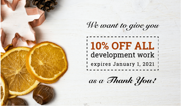 Fall discount showing 10% off all development