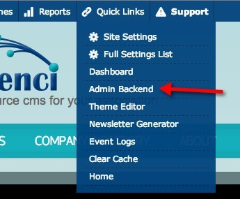 Navigating to the Admin Backend in Tendenci Screenshot