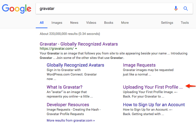 Screenshot of Google search result of Gravatar