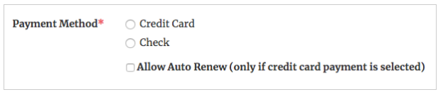 Screenshot of Tendenci's auto-renewal  payment method
