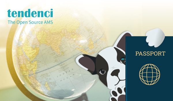 Puppy holding global passport with world globe in background