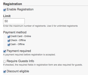 Registration and online payments for Events