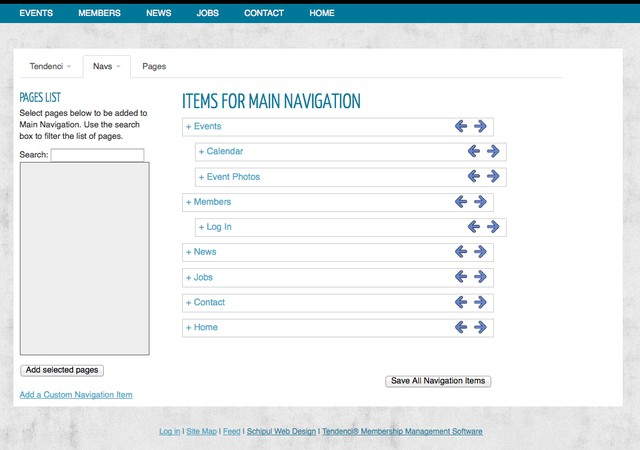 Screenshot of Main Navigation Edit Page