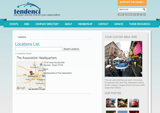 Locations Module - Tendenci Twenty Thirteen Template Screenshot Tour