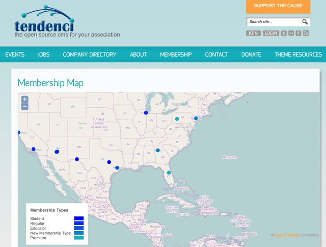 tendenci screenshot of membership-by-geography