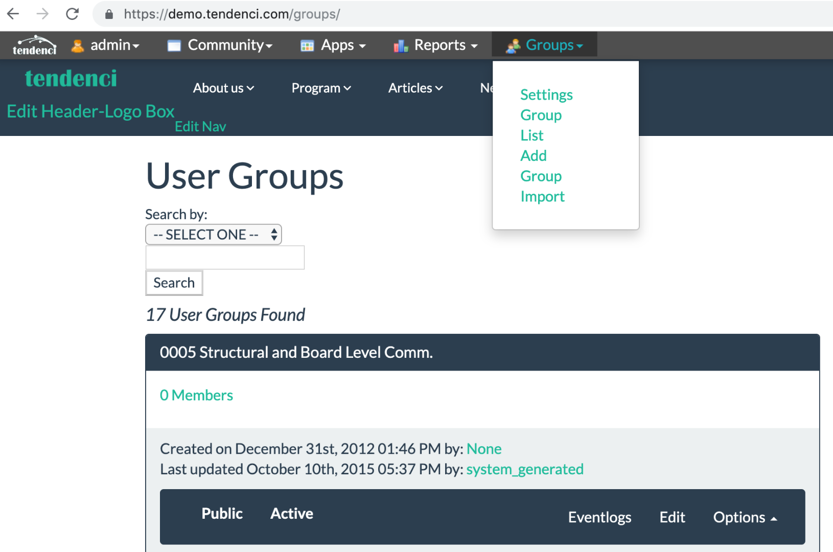 Add a New User Group in Tendenci