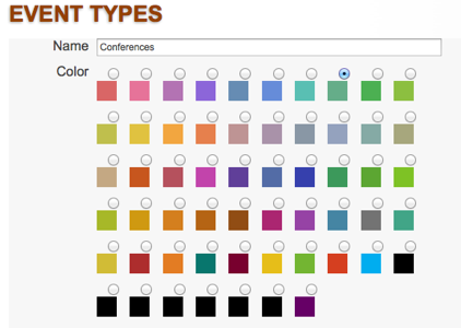 Tendenci Event Type Color Options