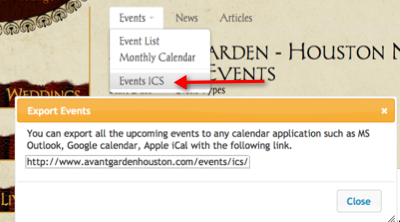 Tendenci Events to ICS Calendar Example