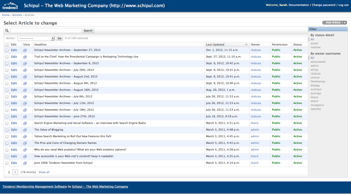 Screenshot of the Administration Page for the Articles Content App