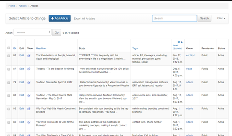 Screenshots of Tendenci Administration Tools