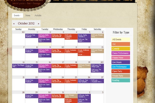 Avant Garden Houston Events Calendar Screenshot using Tendenci