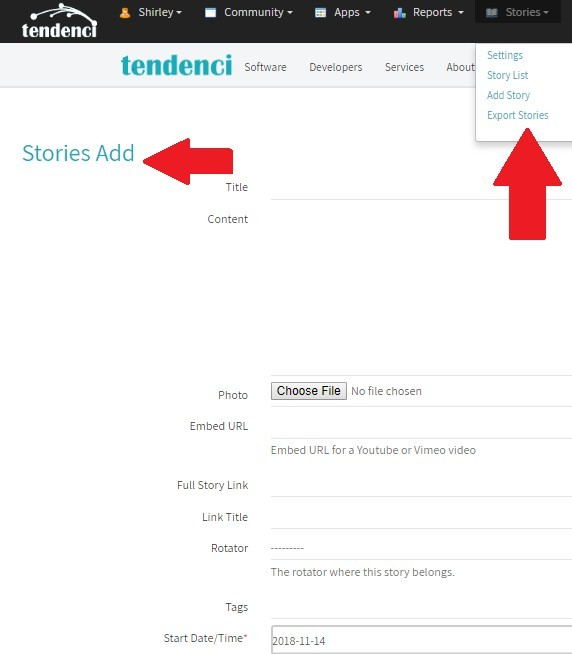 Screenshot of how to add Stories