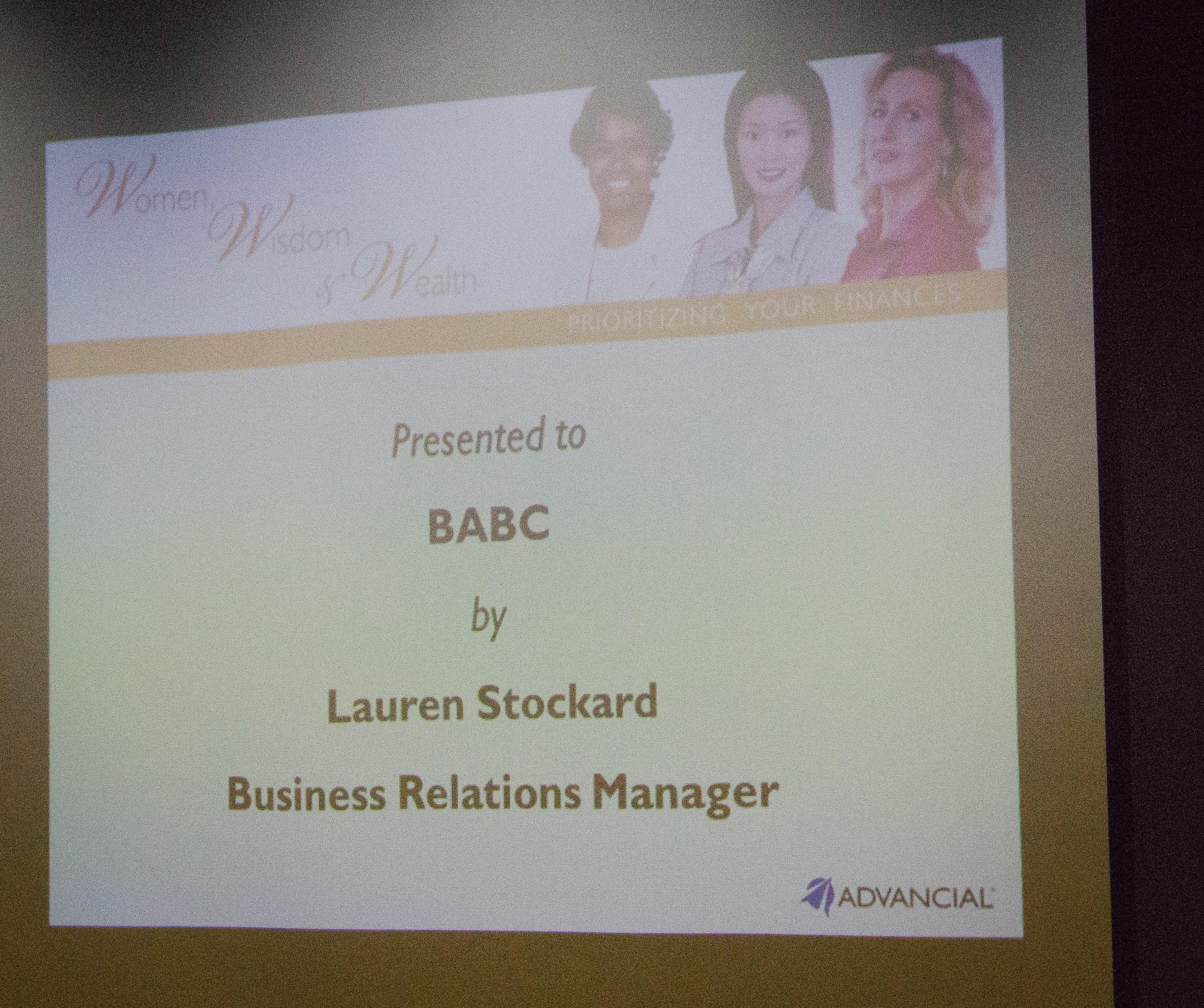 BABC Houston Women Financial Seminar with Lauren Stockard April 2012
